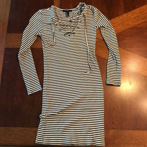 Long sleeved and Striped Bodycon Dress